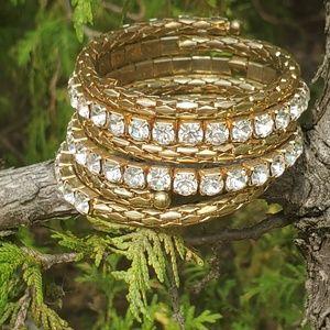 Vintage gold snake rhinestone bracelet
